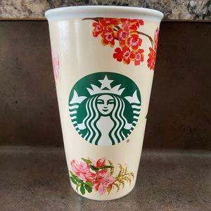 Starbucks ceramic Floral travel mug